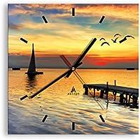 Orologio da parete - Quadrato - Orologio su vetro - Larghezza: 30cm, Altezza: 30cm - Numero dell'immagine 2535 - Movimento continuo e silenzioso - Pronto da appendere - C3AC30x30-2535