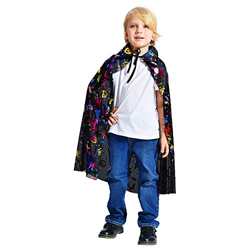 GLXQIJ Unisex Kinder Cape Mantel Kit Mit Hut, Teufel Dämon Hexe Halloween Weihnachten Cosplay Kostüme, 90 - Genial Kleinkind Kostüm