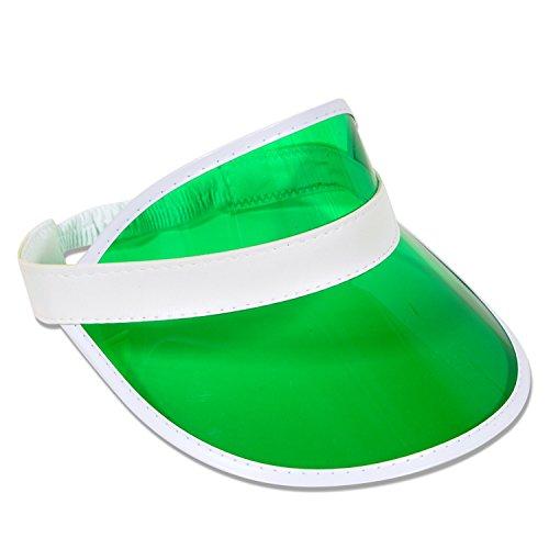 Vizzur RETRO VISOR CAP SONNENMÜTZE BLENDE SCHIRMMÜTZE DURCHSICHTIG POKER PLASTIK (grün)