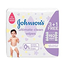 Johnson's Baby Wipes, Ultimate Clean, Formula Free of Alcohol, Parabens & Dyes, 3+1, 192 Wipes