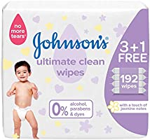 JOHNSON'S Baby Wipes, Ultimate Clean, Formula Free of Alcohol, Parabens & Dyes, 3 +1 Packs of 48 wipes, 192 total count