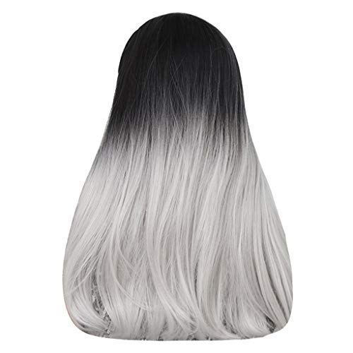 Damenperücke, synthetisch, einfach, schwarz, Farbverlauf grau, lang, gerade, für Damen, Club, Party, modisch, elegante Perücke (Datum Blond)