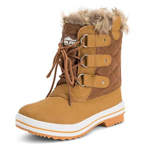 Damen Schnee Stiefel Nylon Short Schnee Pelz Regen Wasserdicht Stiefel - Bräune - 40 - CD0033