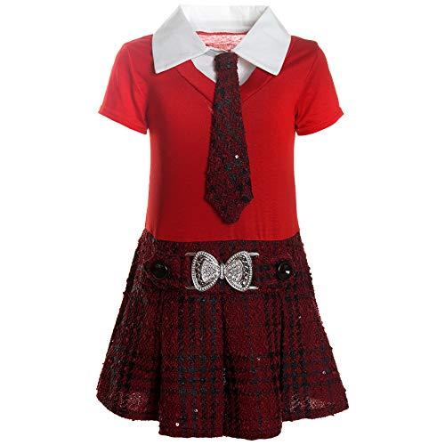 BEZLIT Mädchen Kleider Peticoat Festkleid Freizeit Sommer Kleid Kostüm 21436 Rot Größe 128 (Strand Mädchen Kostüm)