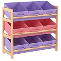 Hartleys 3 Tier Storage Unit with 9 Canvas Bins - Pink & Purple