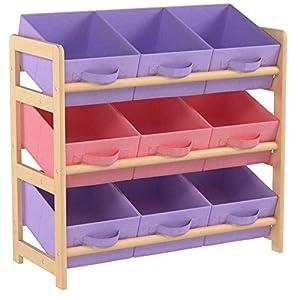 Hartleys Aufbewahrungsmöbel mit 3 Etagen und 9 Aufbewahrungsboxen aus Gewebe – Rosa und Lila