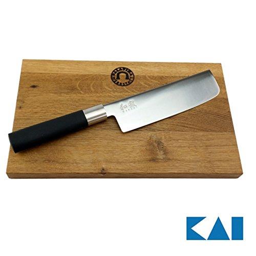 Kai Wasabi Black Geschenkset, ultrascharfes Japanisches Nakiri Messer + Unikat Schneidebrett aus altem Fassholz 25x15 cm Schwarz, Wasabi