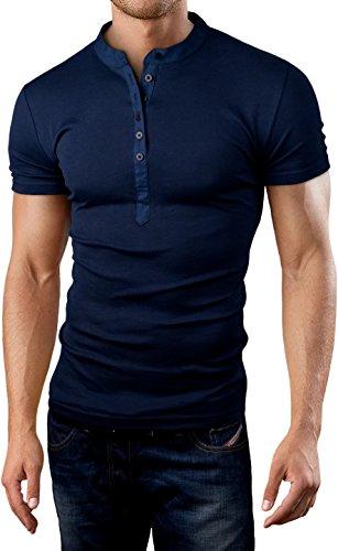 Grin&Bear Slim Fit Grandad Stehkragen Shirt,BH121 kurzarm/navy