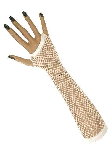 krautwear Damen Fingerlose Netzhandschuhe Handstulpen Handschuhe lang (weiss)