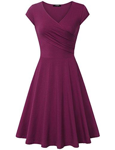 Size Damen-abendmode Plus (Lotusmile Damen Elegant Brautjungfernkleid A Linie Cap Sleeves Einfarbig Knielänge Swing Kleid, Magenta XL)