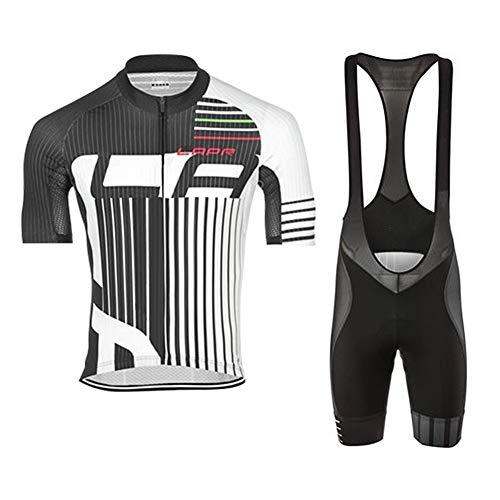 d.Stil Herren Radtrikot Set Kurzarm mit Sitzpolster für MTB Rennrad Fahrrad Jersey + Bib Shorts Radsportanzug M - 4XL (M, Grau-Weiß)