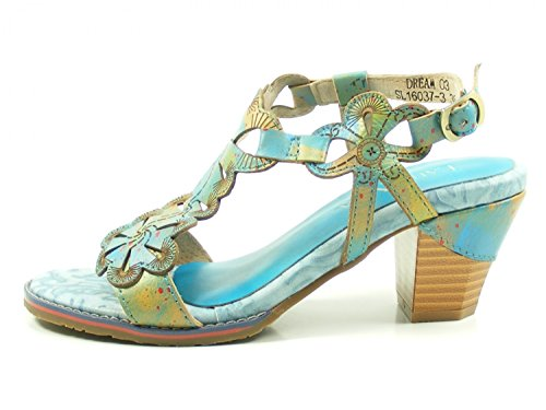 Laura Vita SL16037-3 Dream 03 Sandalias Fashion de Cuero Mujer, Schuhgröße_1:38 EU;Farbe:Turquesa