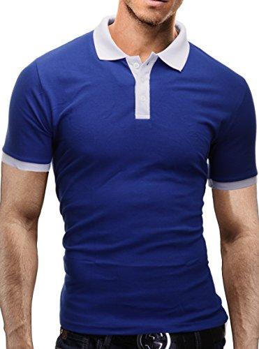 MERISH Poloshirt Herren Kontrastfarben T-Shirt Modell 1025 Blau-Weiß