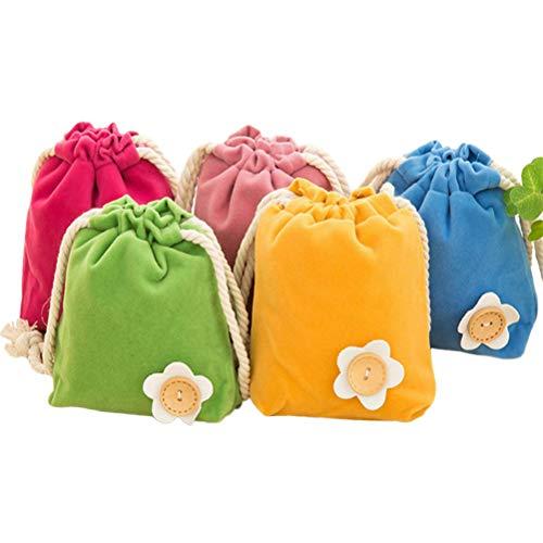 STOBOK 5 stücke Farbige Kordelzug Kleinigkeiten Tasche Flanell Tuch Taschen Kleine Tasche Geschenk Tasche Geldbörsen (5 farben) (Kleine Geschenk Tasche)