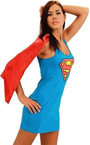DC Comics Superman Supergirl blau & rot Kostüm Tank Kleid mit angehängtem Umhang (Supergirl) (Junior Medium) (Supergirl Tank Kleid)