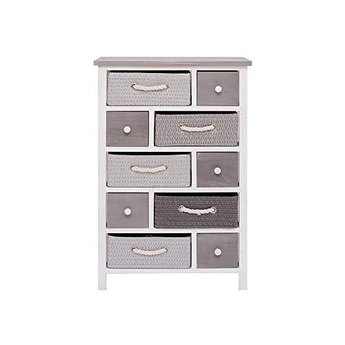 Rebecca Mobili Cómoda, mueble con 5 cajones, blanco gris, madera de paulownia y mimbre, entrada baño, hogar contemporáneo, dormitorio- Medidas: 83 x ...