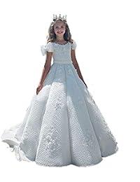 e33e472a4352 Auxico Principessa bianca Abiti da ragazza di fiori Per matrimoni perline  Ragazze Abiti da spettacolo Abiti da prima…