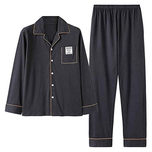 LERDBT Herren Pyjama Sets Langarm Hosen Pyjamas Cotton Breath großer Loser Home Service Sets Männerschlafanzug Für Männer (Color : Photo Color, Size : XXL)