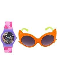 Fantasy World Purple Watch And Orange Sunglass Combo For Boys And Girls