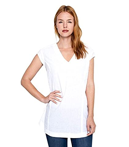 WoolOvers Womens Linen and Cotton V Neck Knitted Tunic White, S