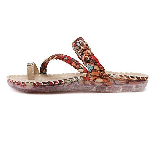 Longra Donna Toe Shoes Boemia strass Rosso