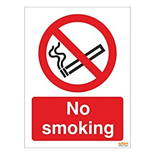 Pack of 5 No smoking signs. 150mm x 200mm Self adhesive sticker (5)