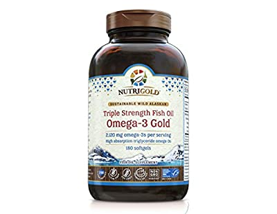 #1 Omega 3 Fish Oil Capsules - Triple Strength Omega 3 GOLD - 1250mg, 180 Softgels (Contains 1,060 mg of Omega 3 per Softgel) (Pharmaceutical Grade) (1000mg EPA + DHA)