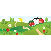 JP London uStrip Peel and Stick Mural MD4043PS Strawberry Fields for Emma Beatles Barn Nursery Removable Wall Mural, 4-Feet by 10.5-Feet