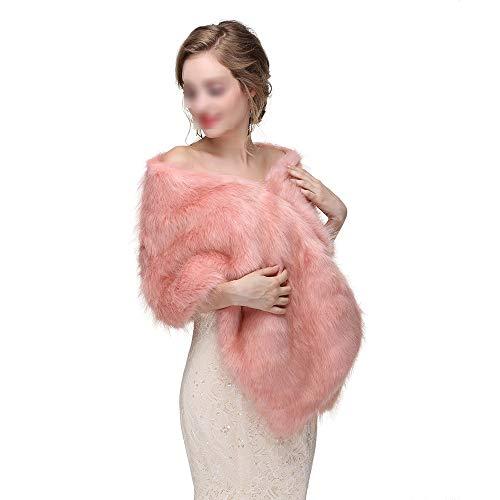 Aclth sciarpe da sposa da donna con scialle avvolgente in pelliccia da donna inverno stole in caldo poncho per abito da cerimonia nuziale (colore : 1st color)