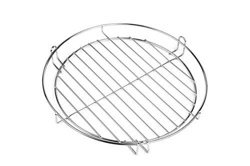 30cm Grillrost chrom mit Reling zum einhängen Warmhalte Rost für Schwenkgrill 3 Bein -