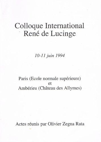 Colloque international René de Lucinge ...