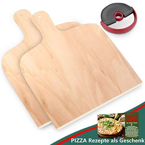 KYONANO Pizzaschaufel, 2 Pizzaschieber Holz + 1 Pizzaschneider Edelstahl, Pizzabrett aus Birkenholz, 30X42cm Brotschieber, Pizzaheber für Pizzastein(3er Set)
