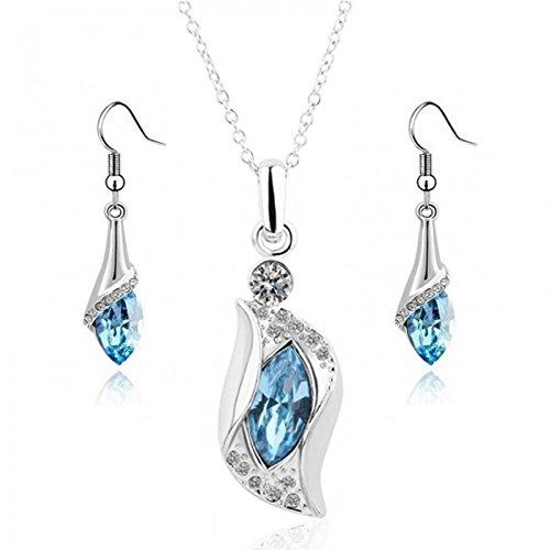 Parure océan cristal swarovski elements plaqué or blanc Bleu turquoise