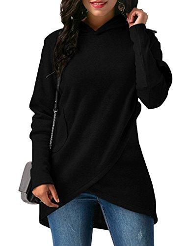 Hoodie Sweatshirt Hose (Oversize Sport Casual Hoodie, WAJAT Winter Damen Hoodie Sweatshirt Asymmetrisch Kapuzenpullover Schwarz XL)