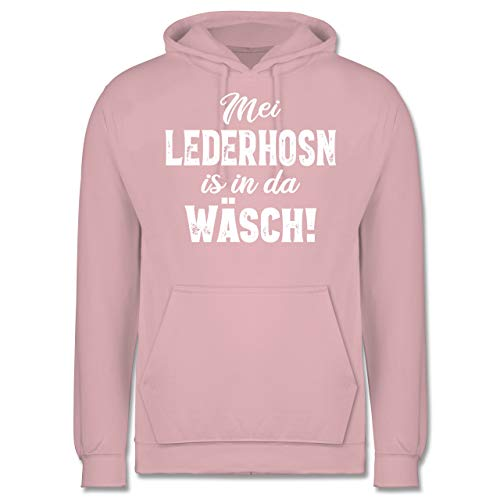 Shirtracer Oktoberfest Herren - MEI Lederhosn is in da Wäsch! - weiß - XL - Hellrosa - JH001 - Herren Hoodie
