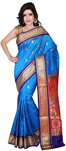 ARUNAFASHIONS Women's Raw Silk Saree (Pplane_Skyblue_Violet _Sky Blue)