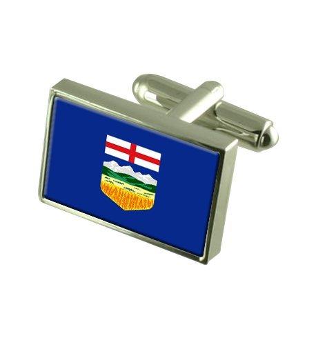 Alberta Landesflagge Manschettenknöpfe mit Tasche Geschenke auswählen