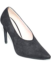 0cd598d806a3 Malu Shoes Decollete Nero Donna in camoscio a Punta Accollato con Chiusura  a V Tacco a