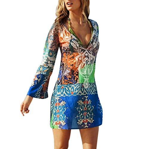 Lazzboy Frauen Beachwear Bademode Bikini Beach Vertuschen Damen Kleid Strand Cover Ups Strandabdeckung Kaftans Badeanzug Bluse Strandkleid Sommerkleid(Bunt,L) -
