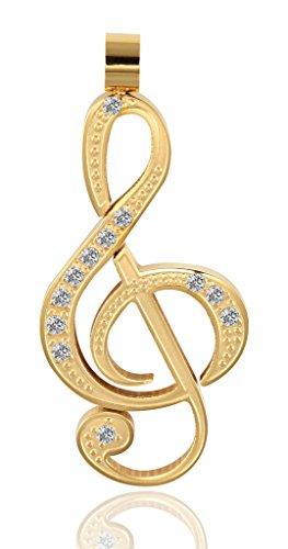 Acier Inoxydable Colliers, Femmes Pendentif Chaîne Notation Musicale Cz 3 Couleurs Epinki Or