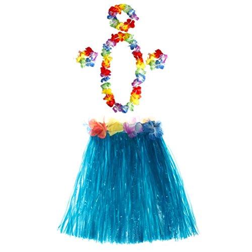 Toyvian 5 sätze Hula Gras Rock Set Hawaiian Luau Tropische Rock Kinder Mädchen Kostüm Tanz Rock und Stirnband Armbänder Halskette 40 cm