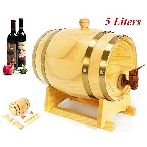 YIYIBY Eichenfass 5L Weinspender Whiskyfass Weinfass Holzfass Schnapsfass Spirituosen - 5-liter-eichenfass
