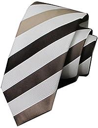 e54991611 Goodvk Corbata de Hombre Hecha a Mano Creativa Suelo Dorado Rayas Blancas  Negocio de los Hombres Lazo Formal Corbata de Seda Pajarita de…