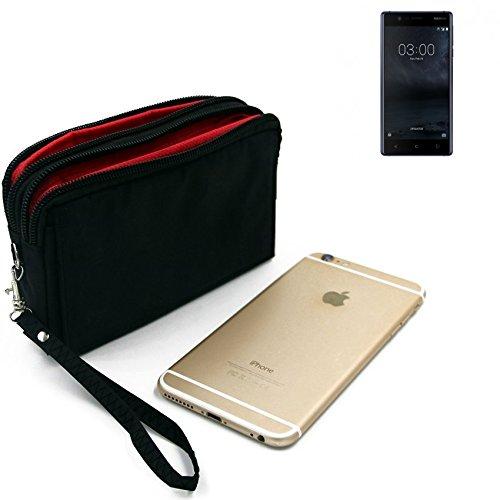 K-S-Trade Für Nokia 3 Dual-SIM Gürteltasche schwarz Travel Bag, Travel-Case mit Diebstahlschutz praktische Schutz-Hülle Schutz Tasche Outdoor-case für Nokia 3 Dual-SIM