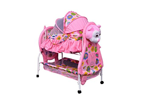 The Style Pro Teddy Crib And Cradle With Swing ( Baby Jhula ) Mosquito Net And Multiple Function