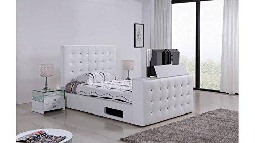 mobilier nitro lit capitonn tv adolfo 140cmx190cm blanc sans matelas avec sommier - Lit Capitonne