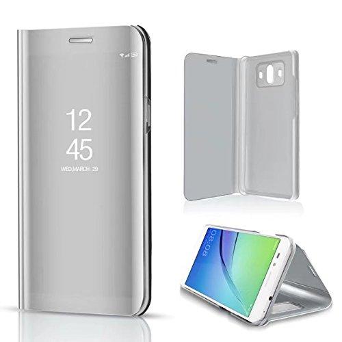 Funda® Specchio Placcatura Flip Custodia per Huawei P10 Plus (Argento)