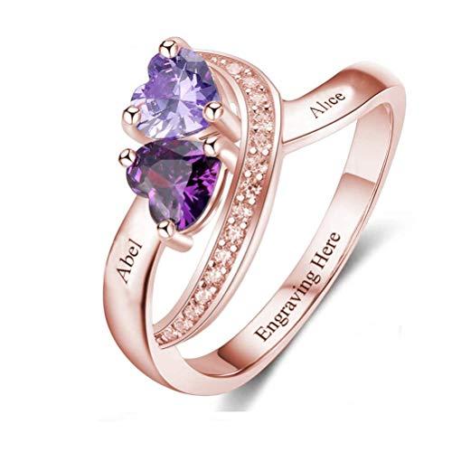 hjsadgasd Benutzerdefinierter Name Sterling Silber Verlobungsring Versprechen Ring für Ihr 2 Herz Birthstones 2 Namen & 1 Gravur Text