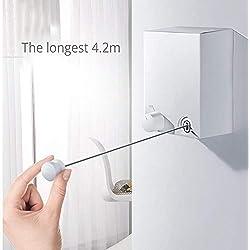 Corde à Linge Rétractable, Fil à Linge Mural Corde à Linge Interieur Exterieur, Fil en Acier Inoxydable, Installation Facile, Capacité de 20 KG, Long de 4.2 M, sans Perçage Argent
