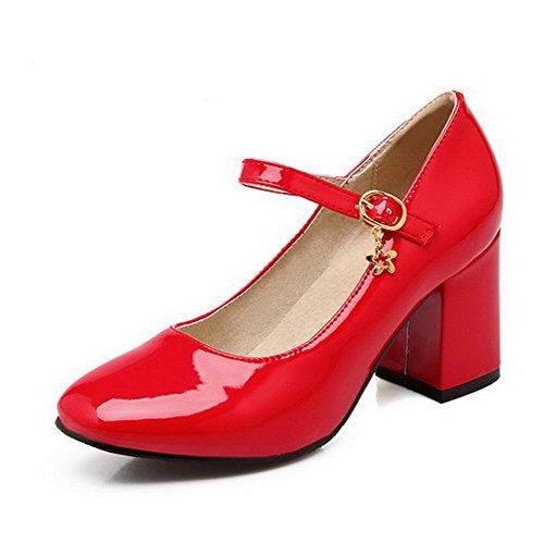 AllhqFashion Femme Carré Boucle Pu Cuir Couleur Unie à Talon Haut Chaussures Légeres Rouge